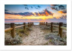 Sunset at the beach Art Print 70084184