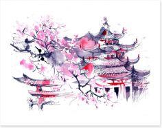 Sakura temple Art Print 71551221