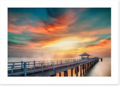 Dramatic pier sunset Art Print 71800374