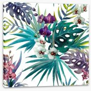 Orchid hibiscus leaves Stretched Canvas 74294366