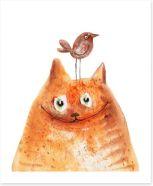 Cat and bird Art Print 75382959