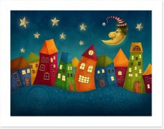 Night in the colourful town Art Print 77935444