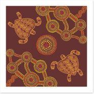 Swimming turtles Art Print 81477336