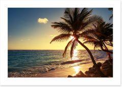 Tropical island sunset Art Print 83274893