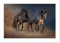 Horses in the desert dust Art Print 85582216
