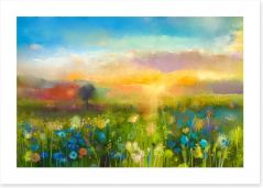 Wildflower meadow at sunset Art Print 90987549