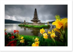 Bali temple and flowers
