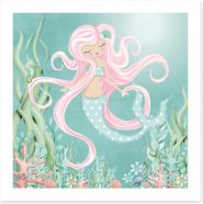 The mermaid with pink hair