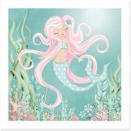 The mermaid with pink hair Art Print KB0005