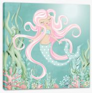 The mermaid with pink hair Stretched Canvas KB0005