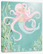 The mermaid with pink hair Stretched Canvas KB0010