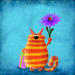 Striped cat with flower