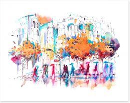 Autumn city rain