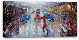 Crossing in the rain Stretched Canvas 102120584
