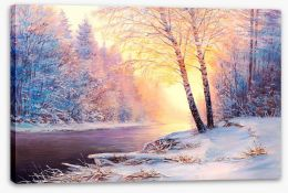 Winter river sunlight Stretched Canvas 128746358