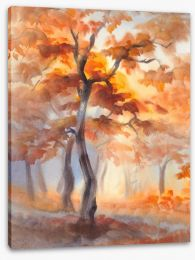 Sun rays in the autumn forest Stretched Canvas 132053081