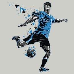 The soccer player in blue