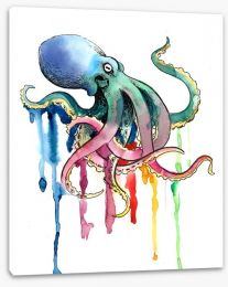 Rainbow octopus Stretched Canvas 137633958