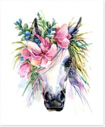 With flowers in her hair Art Print 182615034