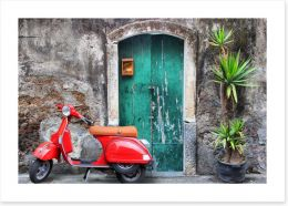 Vespa at the door Art Print 22425722