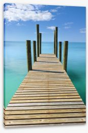 Turquoise blue sea wharf Stretched Canvas 33445615