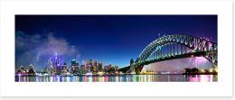 Sydney Harbour NYE fireworks panorama