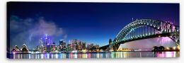 Sydney Harbour NYE fireworks panorama Stretched Canvas 38296723