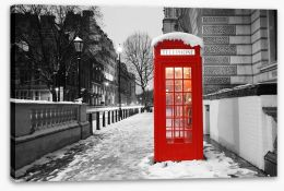 Telephone box in the snow, London