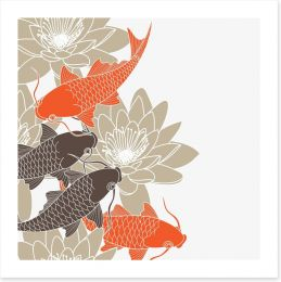 Lotus and koi Art Print 42915902