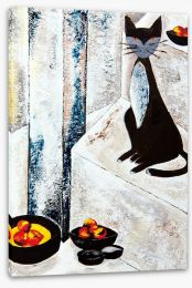 Chat noire avec les fruits Stretched Canvas 44840052