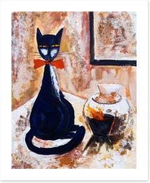 Chat noire avec un vase