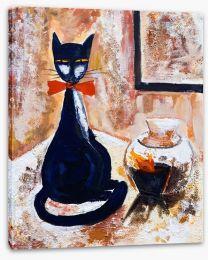 Chat noire avec un vase Stretched Canvas 45354206