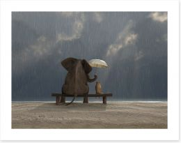 Together in the rain Art Print 48939769
