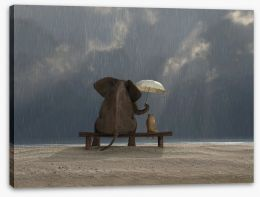 Together in the rain Stretched Canvas 48939769