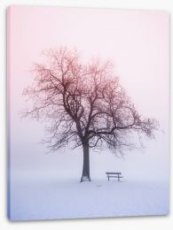 Winter tree in foggy sunrise Stretched Canvas 49035022