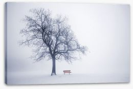 Red bench in Winter Stretched Canvas 52742496