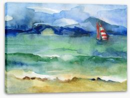 Red stripe sailing boat Stretched Canvas 60562047