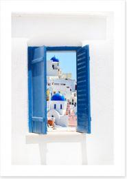 Blue window in Santorini, Greece
