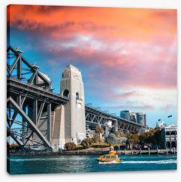 The bridge and fiery sky