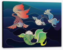 Three fish swim Stretched Canvas 62025083