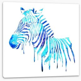 Dripping zebra blue Stretched Canvas 62934266