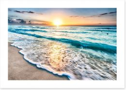 Sunrise over Cancun beach Art Print 64168411