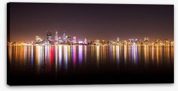 Perth night skyline panorama