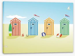 Colourful beach huts Stretched Canvas 65497047