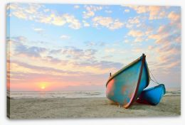 Blue boats at sunrise Stretched Canvas 68233449