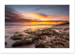 Rocky beach sundown Art Print 69378506