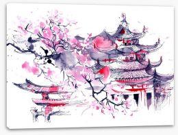 Sakura temple Stretched Canvas 71551221