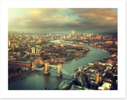 London aerial with Tower Bridge