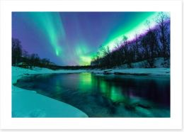 Aurora borealis winter lights