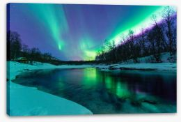 Aurora borealis winter lights Stretched Canvas 77362054